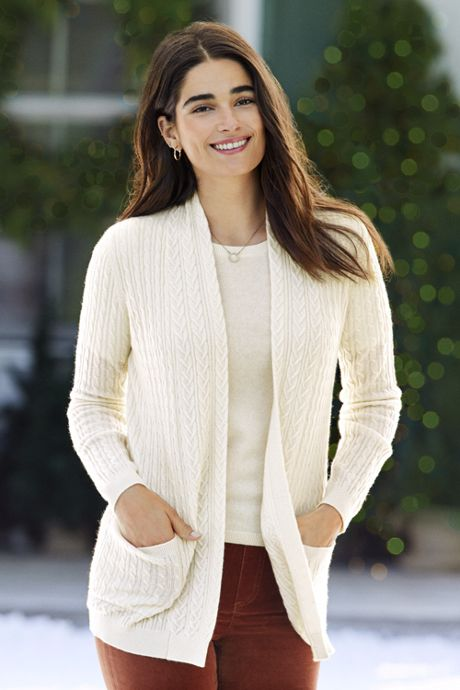 Women's Cashmere Cable Open Long Cardigan Sweater