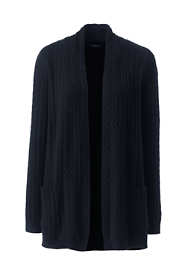 Women's Plus Size Cashmere Cable Open Long Cardigan Sweater