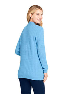 Women's Petite Cashmere Cable Open Long Cardigan Sweater, Back