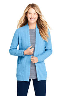 Women's Petite Cashmere Cable Open Long Cardigan Sweater, Front