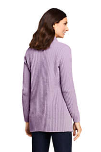 Women's Tall Chenille Ribbed Open Long Cardigan Sweater, Back
