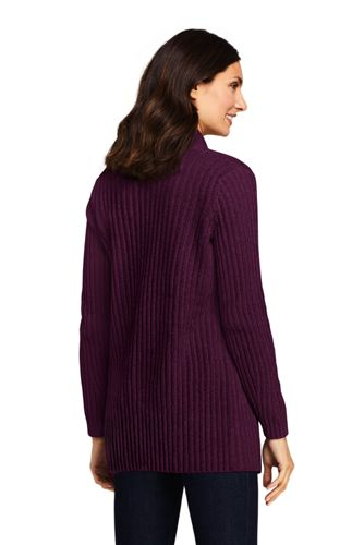 Women's Tall Chenille Ribbed Open Long Cardigan Sweater