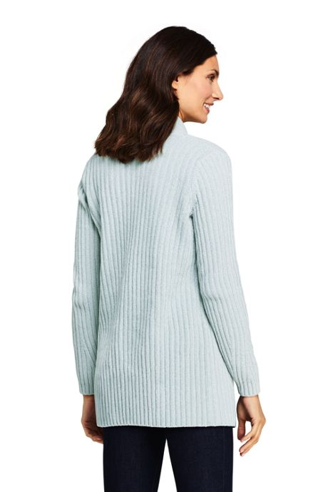 Women's Petite Chenille Ribbed Open Long Cardigan Sweater