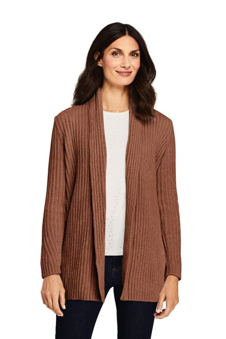 Women's Chenille Ribbed Open Long Cardigan Sweater