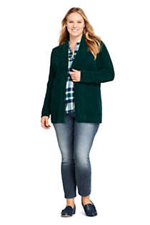Women's Plus Size Chenille Ribbed Open Long Cardigan Sweater, alternative image