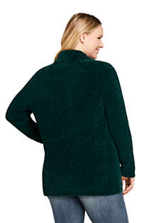 Women's Plus Size Chenille Ribbed Open Long Cardigan Sweater, Back