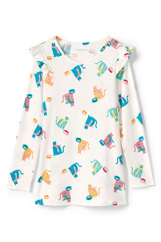 Girls Plus Size Ruffle Shoulder Tunic Top, Front