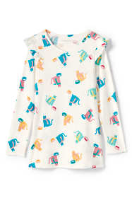 Little Girls Ruffle Shoulder Tunic Top