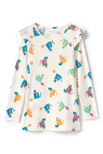 Girls' Pattern Ruffle Shoulder Tunic Top