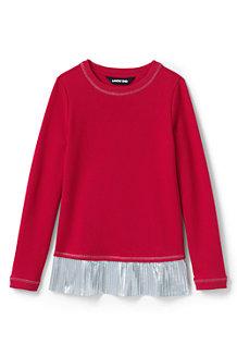 Sweatshirt à Ourlet Plissé Scintillant, Fille