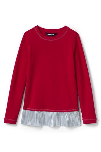 Sweatshirt mit glänzendem Rüschensaum für große Mädchen