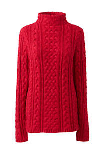 Women's Plus Size Cotton Blend Mock Neck Aran Cable Sweater, Front