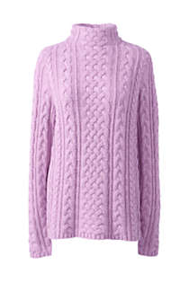 Women's Cotton Blend Mock Neck Aran Cable Sweater, Front