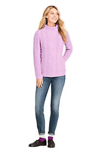 Women's Cotton Blend Mock Neck Aran Cable Sweater, Unknown