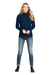 Women's Petite Cotton Blend Mock Neck Aran Cable Sweater, alternative image