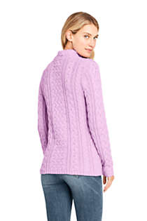 Women's Cotton Blend Mock Neck Aran Cable Sweater, Back