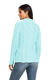 Women's Cotton Blend Mock Neck Aran Cable Sweater
