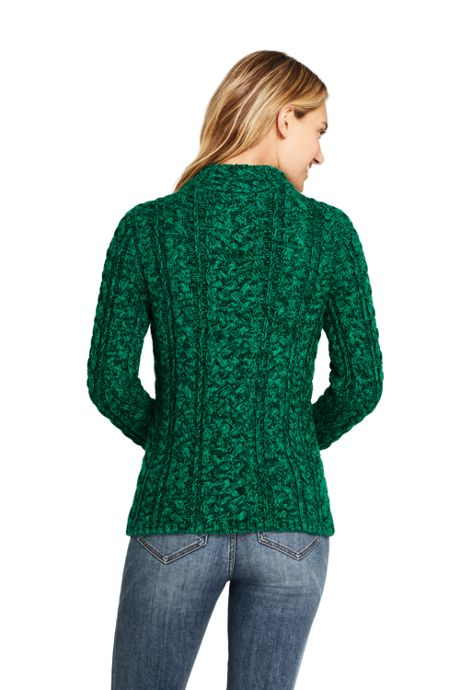 Women's Cotton Blend Mock Neck Aran Cable Sweater