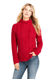 Women's Petite Cotton Blend Mock Neck Aran Cable Sweater