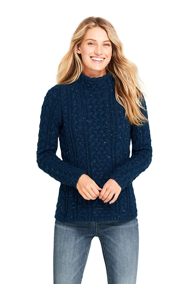 Women's Petite Cotton Blend Mock Neck Aran Cable Sweater, Front