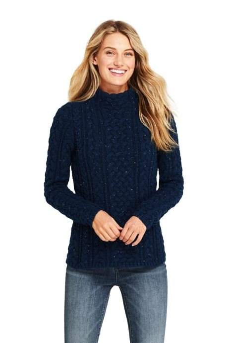 Women's Tall Cotton Blend Mock Neck Aran Cable Sweater