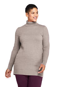 Women's Plus Size Cotton Cable Turtleneck Tunic Sweater
