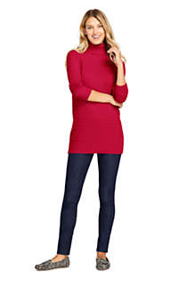 Women's Cotton Cable Turtleneck Tunic Sweater, Unknown