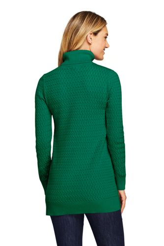 Women's Cotton Cable Turtleneck Tunic Sweater