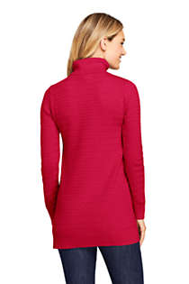 Women's Cotton Cable Turtleneck Tunic Sweater, Back