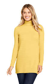 Women's Tall Cotton Cable Turtleneck Tunic Sweater