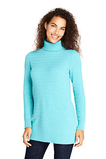 Women's Basketweave Roll Neck Tunic Jumper