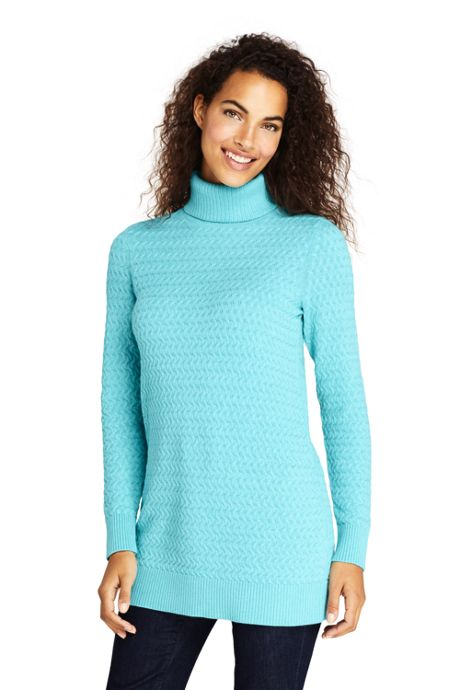 Women's Petite Cotton Cable Turtleneck Tunic Sweater