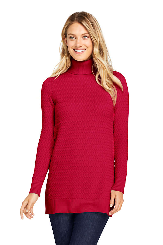 Women's Cotton Cable Turtleneck Tunic Sweater, Front