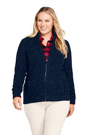 Women's Plus Size Cotton Blend Mock Neck Aran Cable Zip Cardigan Sweater