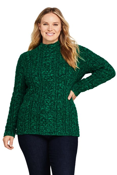 Women's Plus Size Cotton Blend Mock Neck Aran Cable Sweater