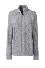 Women's Petite Cotton Blend Mock Neck Aran Cable Zip Cardigan Sweater