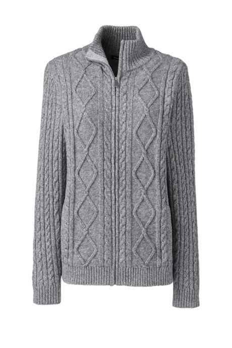 Women's Cotton Blend Mock Neck Aran Cable Zip Cardigan Sweater