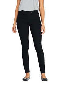 Women's Tall Elastic Waist High Rise Pull On Skinny Legging Jeans - Black