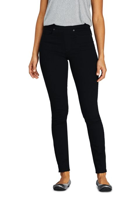 Women's Elastic Waist High Rise Pull On Skinny Legging Jeans - Black