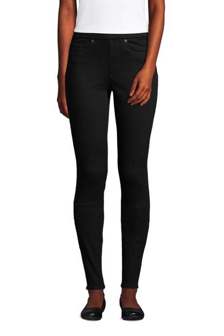 Women's Petite Elastic Waist High Rise Pull On Skinny Legging Jeans - Black
