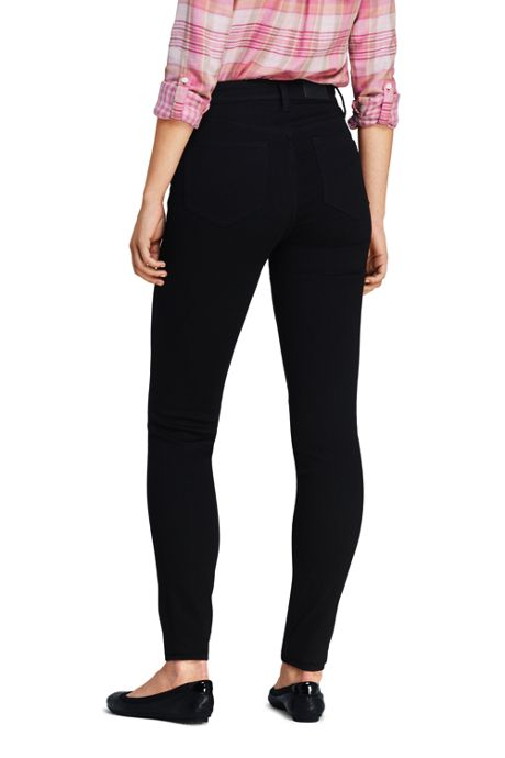 Women's Petite Curvy Mid Rise Skinny Jeans - Black