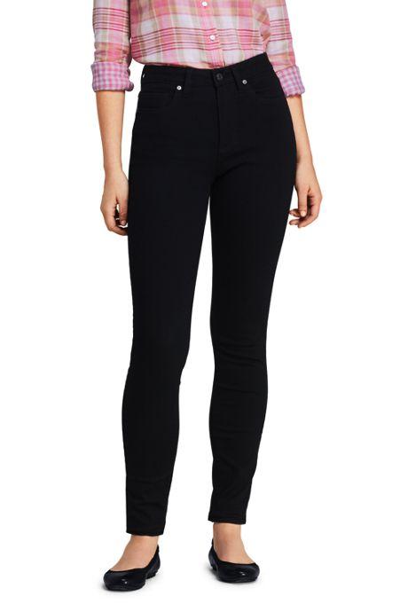 Women's Curvy Mid Rise Skinny Jeans - Black
