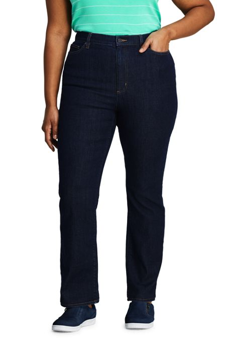 Women's Plus Size Water Conserve Eco Friendly High Rise Straight Leg Classic Fit Stretch Blue Jeans