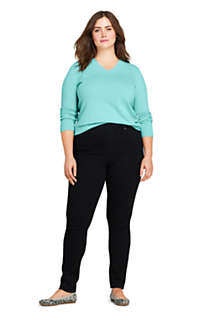 Women's Plus Size Elastic Waist High Rise Pull On Skinny Legging Jeans - Black, Unknown
