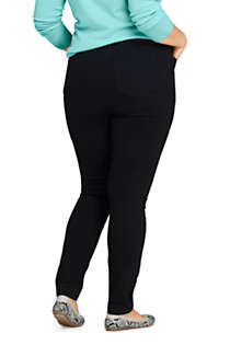Women's Plus Size Elastic Waist High Rise Pull On Skinny Legging Jeans - Black, Back