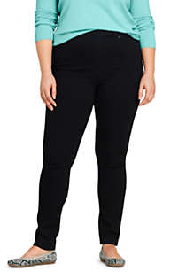 Women's Plus Size Elastic Waist High Rise Pull On Skinny Legging Jeans - Black, Front