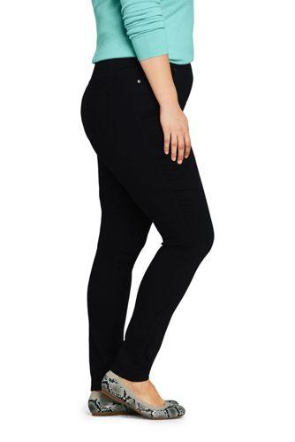 Women's Plus Size Elastic Waist High Rise Pull On Skinny Legging Jeans - Black
