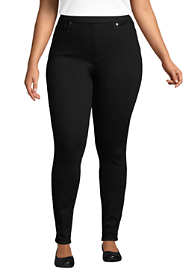 Women's Plus Size Elastic Waist High Rise Pull On Skinny Legging Jeans - Black