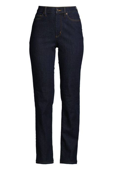 Women's Petite Water Conserve Eco Friendly High Rise Straight Leg Classic Fit Stretch Blue Jeans
