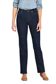 Women's Tall Water Conserve Eco Friendly High Rise Straight Leg Classic Fit Stretch Blue Jeans